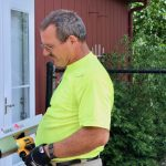 Certified Arborist, Ed Ritzema, demonstrates the tool used to detect decay in trees